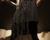 "Black Tunic  ""Mysterious"" - One Shoulder Leather Fringe"