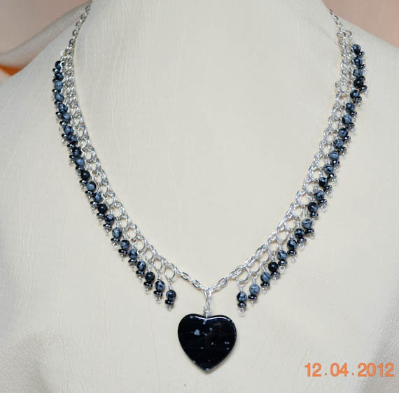SALE- 1/2 OFF - Snowflake Obsidian Heart pendant Necklace