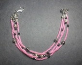 "Beaded Bracelet, ""Pink Zebra,""  Custom Sized to Order as Medical ID Replacement or Standard Bracelet"