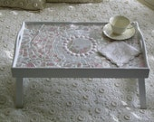 Breakfast Bed Tray with Antique Pink and White China Mosaic
