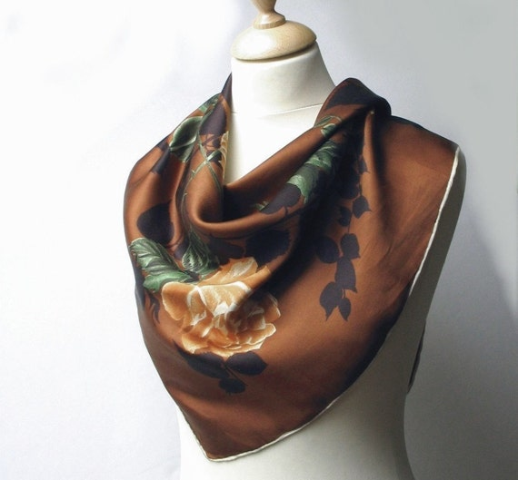 Vintage Italian silk head scarf- floral - 1950s 50s