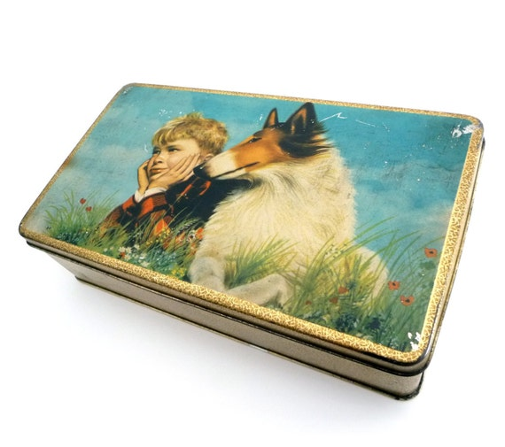 RESERVED - Vintage Biscuits Tin Box - Retro Advertising Metal Collection Box with Hinge Lid - Italian Cookies Tin - 1960s