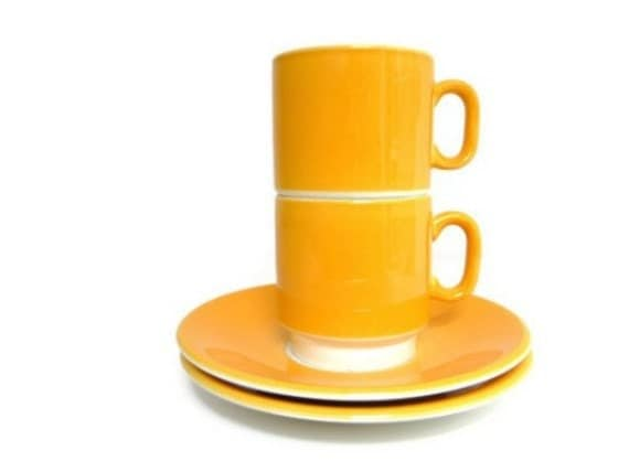 Vintage Ceramic Coffee Cups and Saucers - Yellow and White - Mod Set of 2, Made in Italy - 1970s