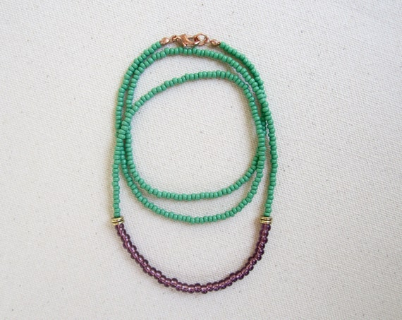 Native American Necklace - Copacabana Series Green and Purple Czech Glass