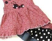 Apron Skirt and Swing top Ant appliquéd on Red Bandana Fabric Denim Skirt