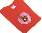 Baseball Shirt Applique on Red Cotton Tee Shirt Youth S Ready to Ship