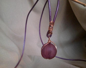 Copper wrapped bead necklace