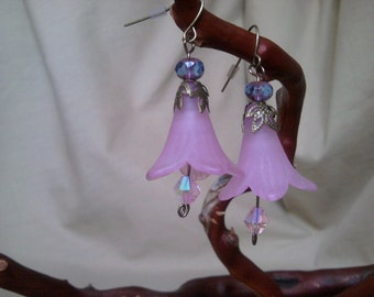 Pink Flower Earrings with Small Leaf Cap