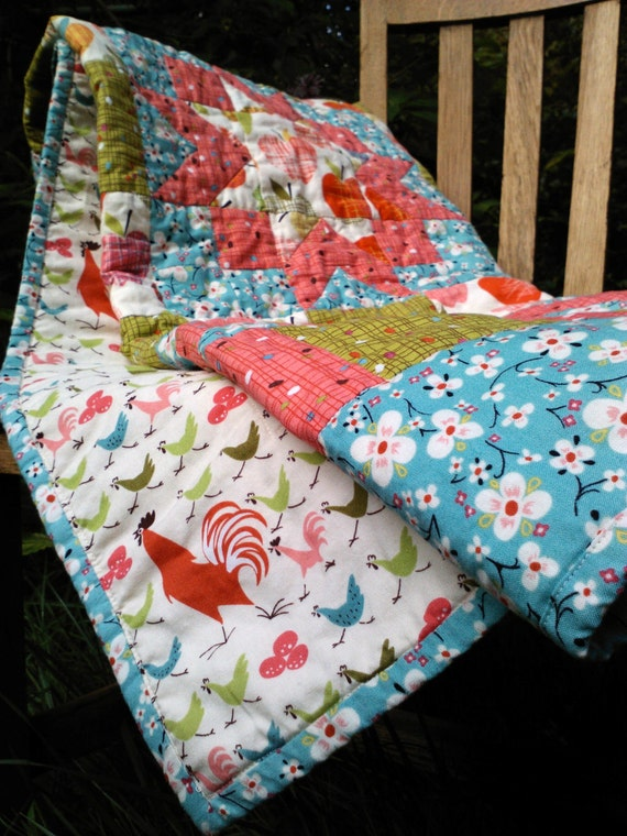 "ON SALE! Baby quilt- patchwork Alexander Henry ""Farmdale"""