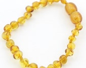 Screw Clasp - Baltic Amber Teething Anklet/Bracelet  5 - 5.5 inches - Baroque Lemon