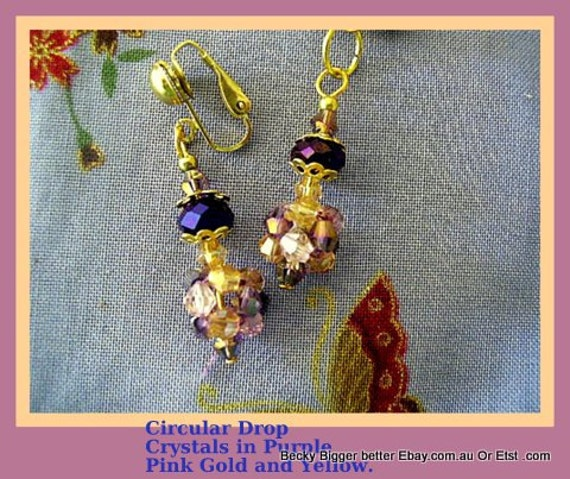 Earrings Crystals pink gold purple yellow circular My Design clip-ons studs pierced Handmade