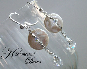 Classic Coin Pearl Earring, Pearl Ear with Swarovski Crystal - by KTownesend Wedding Jewelry