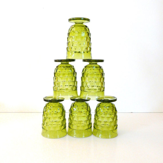 vintage green glasses  ///  depression glass, kitchenware, barware, bar glasses, serving, 60s housewares, retro, bohemian