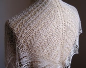Bamboo Wave Border White/Natural Handknit Lace Scarf