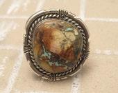 Sterling Ring Boulder Turquoise Jon McCray Navajo H115
