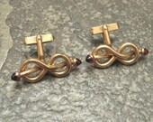 Deco Cufflink Tie Bar Set Red Rolled Gold Swank R124