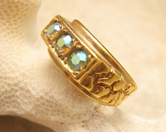 Vintage Rhinestone Nugget Ring Mens H008