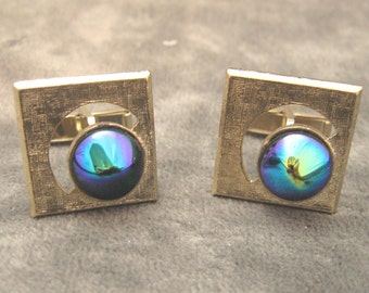 Vintage Cufflinks Vintage Carnival Glass Jewelry Mens H025