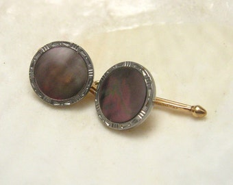 Krementz Button Studs Brown Mother of Pearl H148