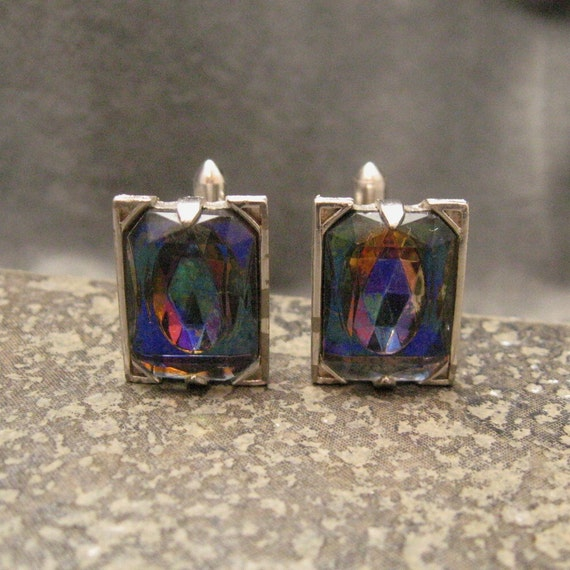 Vintage Cufflinks Colorful Stone Blues Pinks H092