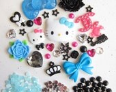 Black and Blue Kitty Fashion DIY Phone Decoden Set