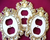 Kitsch Deco Room 60's 3 Set Outlet Plates Cameo White