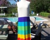 Iconic St John Knits Vintage 1960's or 70's Rainbow Maxi Dress