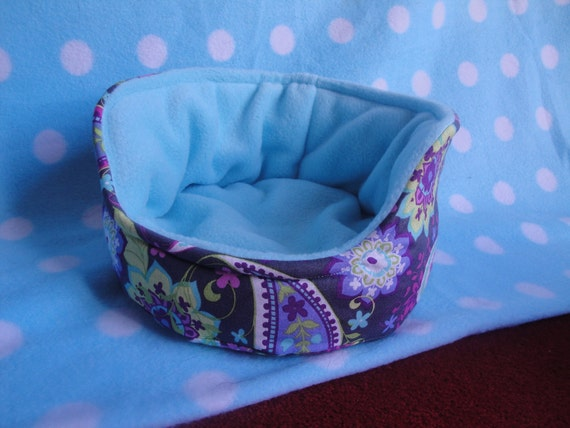 Luxury Guinea Pig cuddle cup -  Light blue fleece and beautiful paisley print cotton