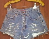 Studded Fly High Waisted Distressed Denim Shorts