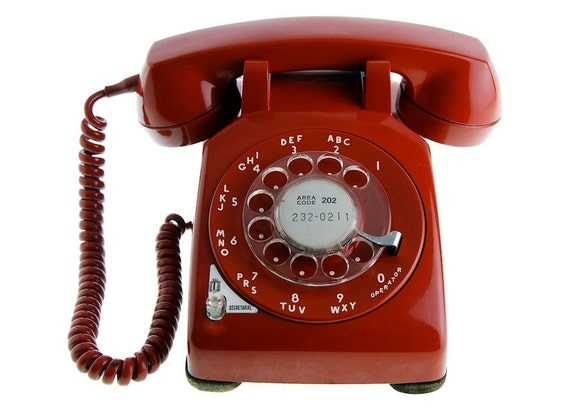 1958 Red Rotary Phone, Western Electric