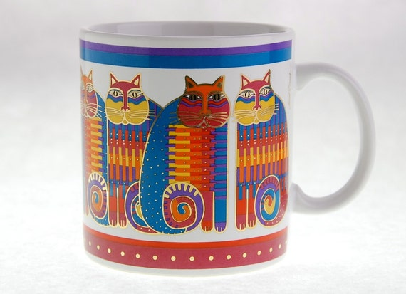 "Vintage Laurel Burch Mug ""Rainbow Cat Cousins"""