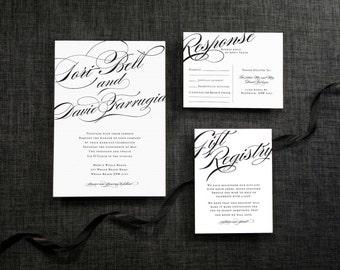 DIY Printable Wedding Invitation Calligraphy  - 4 pieces