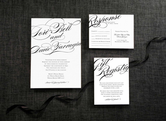 DIY Printable Wedding Invitation Calligraphy  - 4 pieces