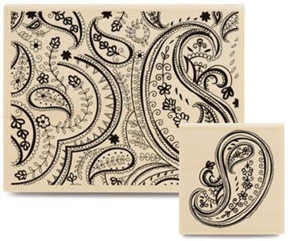 Paisley Stamp Set - 2 Rubber Stamps
