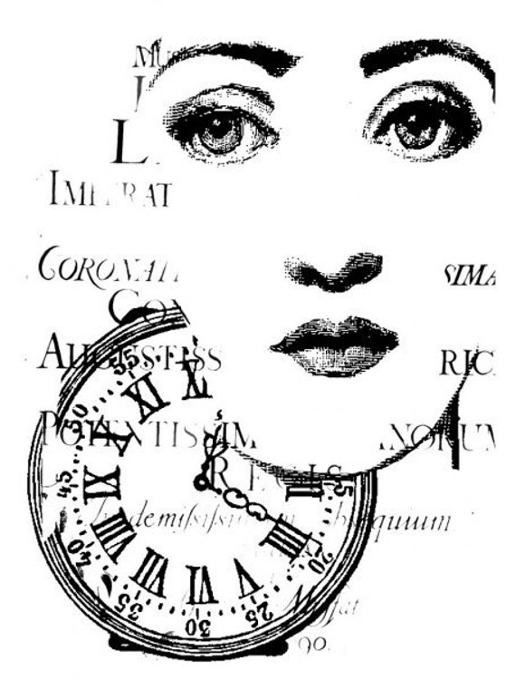 Face Clock Stamp - Woman - Pocketwatch - Script - Steampunk - Vintage Image - LaBlanche - Germany - 1187