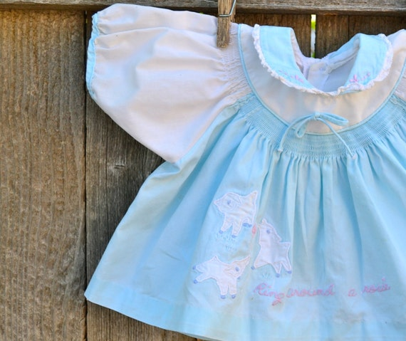 Nursery Rhyme Dress Blue and White Size Newborn to 3 Months