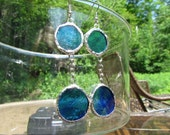 Stained Glass Earrings, Light Blue, Dark Blue and hint of Green, TREASURY ITEM
