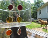 Stained Glass Earrings, Red, Yellow and Orange,