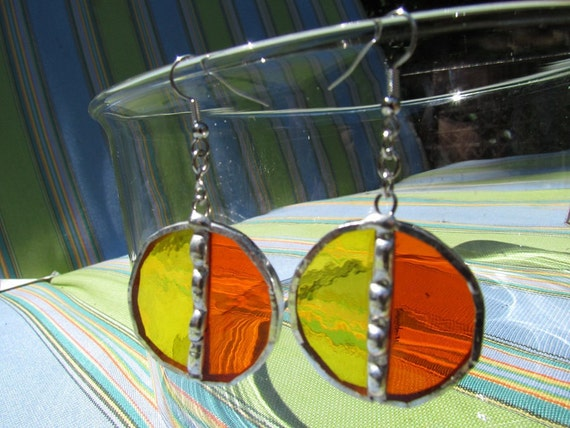 Stained Glass Earrings, Full Circle, Yellow and Orange, Decorative Solder