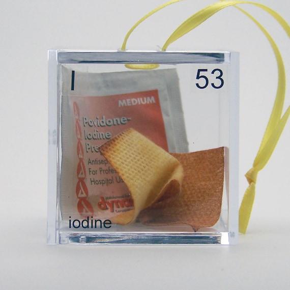 Iodine - Periodic Table of Elements Cube Ornament