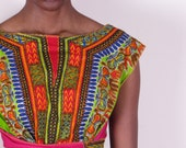 Bold Bright 50s Vintage Inspired Dashiki African Wax Print Full Circle Wrap Dress one size