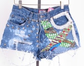 old navy distressed ethnic print lace boho hippy fringe denim cut off jean micro short shorts 8