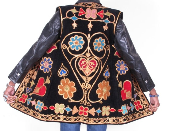 vintage 70s hippie ethnic tribal velvet heavily embroidered gold colorful vest gilet jacket