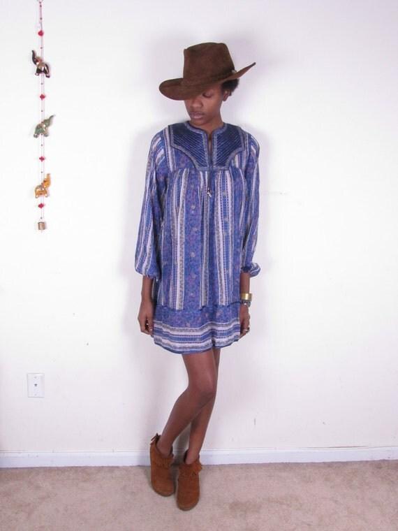 Vintage Hippie MOGUL Indian Gauze Padded Bib Sheer Cotton Bohemian Mini Dress