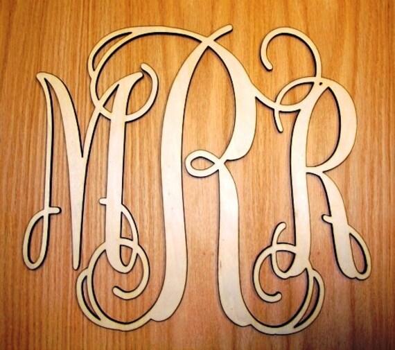 """3 Letter Monogram Door Hanger 6"""" tall"""