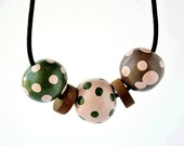 Handmade Polymer Clay with Pink, Green Polka Dot  Beads Necklace and wood beads in Pink, Green and Brown, on Dark Brown Premium Leather Cord