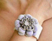 RESERVED-Handmade Beige Leather Wrist Cuff on Purple Tinsel Leather Flower with Snap Bracelet. Leather Jewerly.