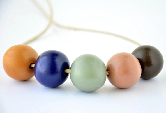 Handmade Colorful Round Polymer Clay Beads Necklace on Beige Leather Cord, Handmade Jewelry
