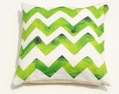 Kelly Green Watercolor CHEVRON STRIPED Print 18x18, heavy cotton front and canvas zippered back