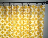 Drapes, Modern Curtains, Pair 50 x 108 Yellow and White Custom Drapery, Grommet Tops Optional